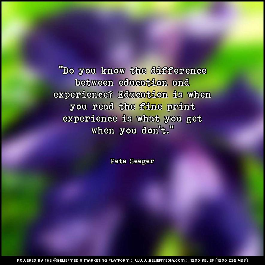 Quote from Pete Seeger about Experience